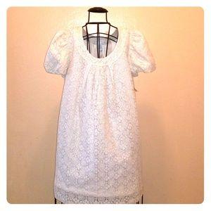 WORTHINGTON IVORY/SILVER LACE FESTIVE DRESS